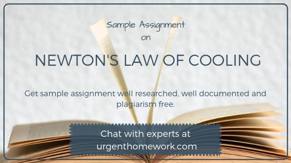 Sample Assignment on Newtons law of cooling