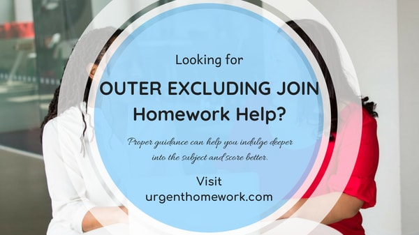 sql outer excluding join homework help